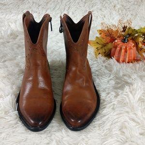 Lucky Brand Chantel Vachetta Western Ankle Boots